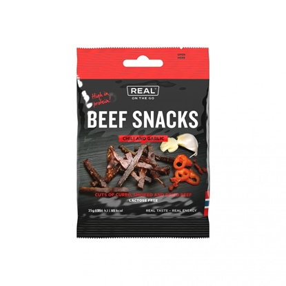Bilde av REAL TURMAT  Biff Snacks Chili og Hvitløk