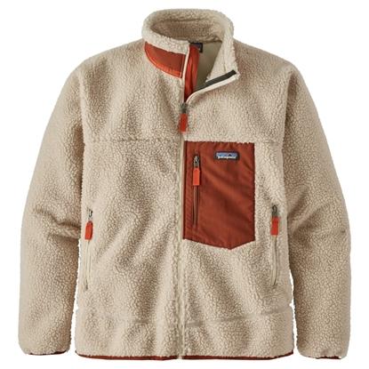 Bilde av PATAGONIA Mens Classic Retro-X Jacket Natural W/ Barn Red