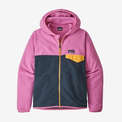 Bilde av PATAGONIA Girls' Micro D™ Snap-T® Fleece Jacket New Navy w/Marble Pink