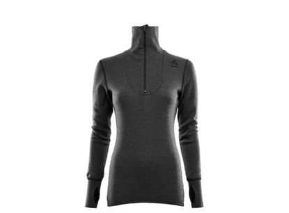 Bilde av ACLIMA Womans Doublewool Polo Shirt Zip Marengo/Jet Black