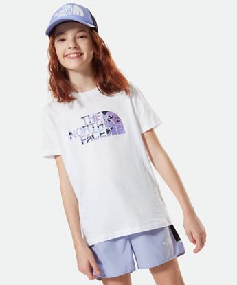 Bilde av THE NORTH FACE Youth Short Sleeve Easy Tee Sweet Lavender Cloud Camo Print