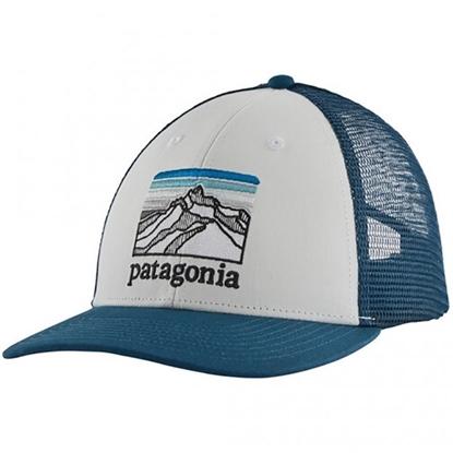 Bilde av PATAGONIA Line Logo Ridge Lopro Trucker Hat White w/Crater Blue