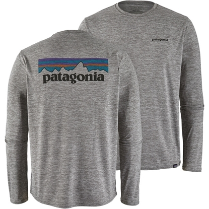 Bilde av PATAGONIA Men's Long Sleeve Cap Cool Daily Graphic Shirt P-6 Logo: Feather Grey
