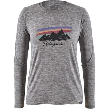 Bilde av PATAGONIA Women's Long Sleeve Cap Cool Daily Graphic Shirt Free Hand Fitz Roy: Feather Grey