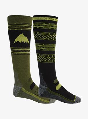 Bilde av BURTON Men's Performance Lightweight Sock 2PK True Black/Martini Olive